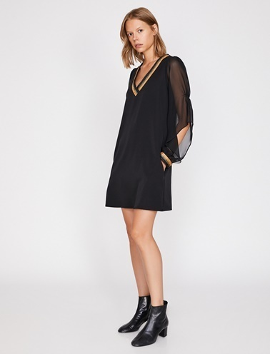 Koton V Yaka Simli Elbise Siyah